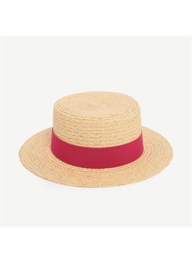Yargıcı Kurdele Detaylı Rafya Şapka Bej